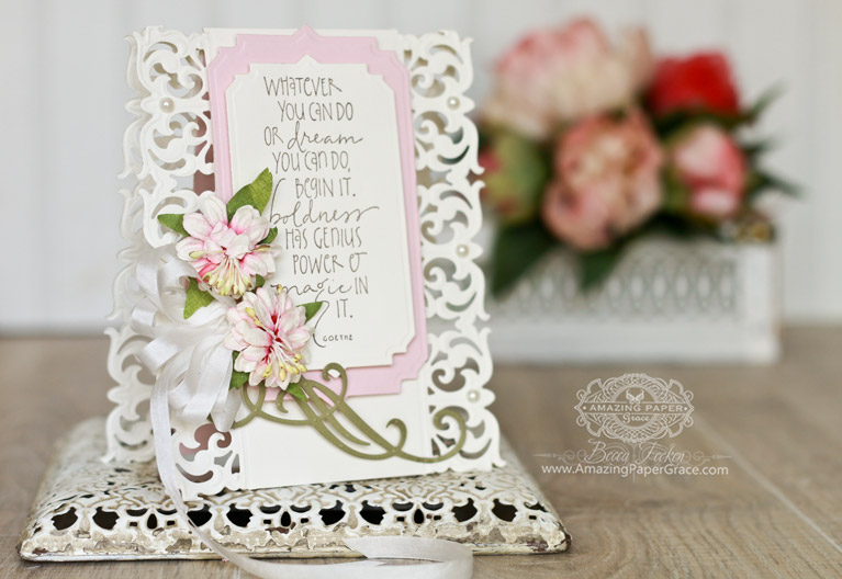 Card Making Ideas by Becca Feeken using Spellbinders Graceful Damask Border, Spellbinders Art Deco Astoria Labels, Spellbinders  Classic Elegance Label - see full supply list and directions at www.amazingpapergrace.com/?p=31606