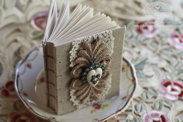 Bookbinding Ideas by Becca Feeken using Spellbinders S5-289 Filigree Booklet Die - full supply list, links and walk through at www.amazingpapergrace.com/blog