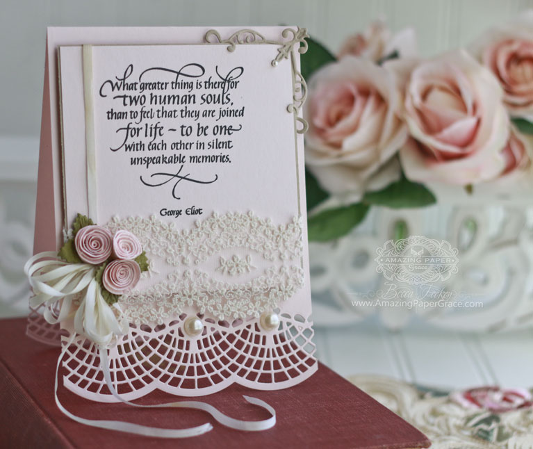 Romantic Card Making Ideas by Becca Feeken using Quietfire Design - What Greater Thing Is There, Spellbinders 74-790 Bella Clair Border, Spellbinders S6-021 Imperial Square - Full supply list and links at www.amazingpapergrace.com/blog/?p=32195