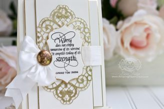 Card Making Ideas by Becca Feeken using Quietfire Design - Worry, Spellbinders Isabella Frame and Spellbinders Francesca Label - full supply list and links at www.amazingpapergrace.com/?p=32315