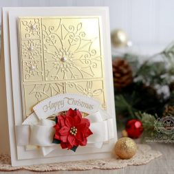 Cardmaking Ideas by Becca Feeken using Spellbinders Snowflake Snippets,Spellbinders Vintage Pierced Banners, Quietfire Design - International Christmas - see fully supply list as well as tips on tone-on-tone backgrounds at www.amazingpapergrace.com/?p=32932