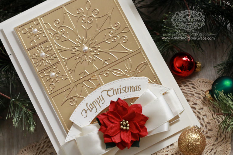 Cardmaking Ideas by Becca Feeken using Spellbinders Snowflake Snippets, Spellbinders Vintage Pierced Banners, Quietfire Design - International Christmas - see fully supply list as well as tips on tone-on-tone backgrounds at www.amazingpapergrace.com/?p=32932