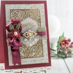 Christmas Card Making Ideas by Becca Feeken using Spellbinders Filigree Booklet Die and Spellbinders Breanna's Corset Label Die - full supply list at www.amazingpapergrace.com/?p=32979