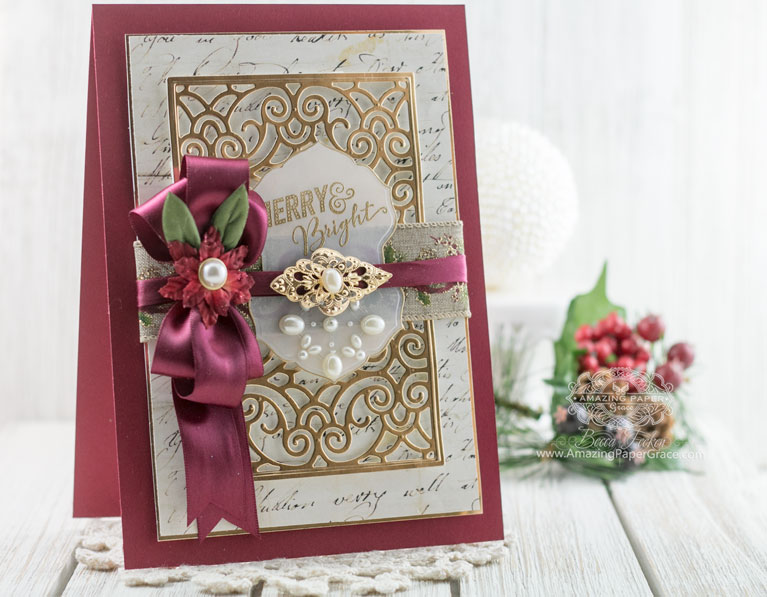 Christmas Card Making Ideas by Becca Feeken using Spellbinders Filigree Booklet Die and Spellbinders Breanna