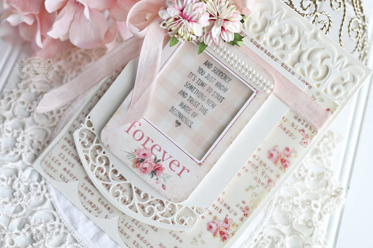 Valentines Card Making Ideas by Becca Feeken using Lunette Arched Borders and Graceful Damask - see full supply list at www.amazingpapergrace.com/?p=33271