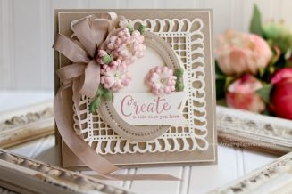 Card Making Ideas by Becca Feeken - A Lovely Change from Rectangle to Square using Graceful Frame Maker Die, Hemstitch Ovals Die, Cinch and Go Flowers III Die and Bella Rose Lattice Layering Die - see www.amazingpapergrace.com/?p=33777 for full supply list