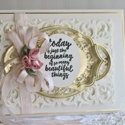 Cardmaking Ideas by Becca Feeken using Amazing Paper Grace Dies by Spellbinders - Hannah Elise Layering Frame, Graceful Damask, Francesca Label, Hemstitch Ovals - for full supply list see www.amazingpapergrace.com/?p=33511