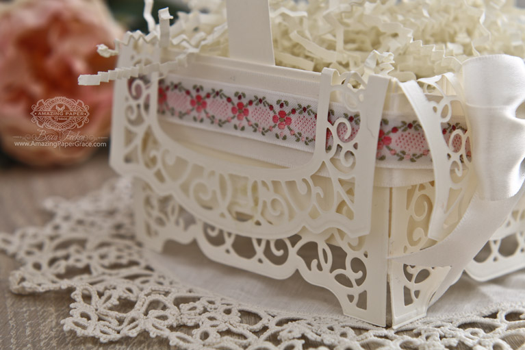 Papercraft Basket Ideas by Becca Feeken using Amazing Paper Grace 3D Vignettes - Grand Cabinet Base - see fully supply list at www.amazingpapergrace.com/?p=33791