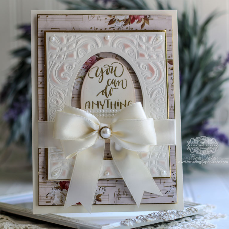 Card Making Ideas by Becca Feeken using Amazing Paper Grace Romancing the Swirl by Spellbinders - A2 Corner Cotillion - see full supply list at www.amazingpapergrace.com/?p=34000 where Becca shows Detail Embossing.
