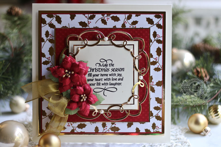 Christmas Card Making Season Ideas by Becca Feeken using A Charming Christmas - Christmas Boughs and Cinch and Go Pointsettias for Spellbinders - see full list and blog post at www.amazingpapergrace.com/?p=34169