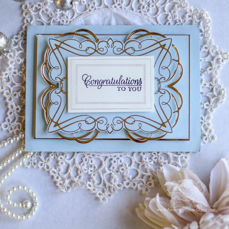 Introducing Glorious Glimmer by Becca Feeken and Spellbinders Glimmer Foil System - Elegant Rectangle and Flourished Square - See full supply list at www.amazingpapergrace.com/?p=34393