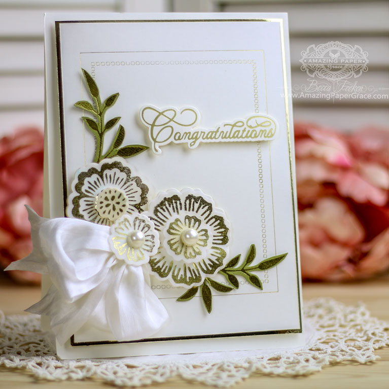 Foil Card Making Ideas by Becca Feeken Using Glorious Glimmer Foil Flowers, Glorious Glimmer Elegant Sentimenrs and Spellbinders Hemstitch Rectangles - see full supply list at www.amazingpapergrace.com/?p=34510