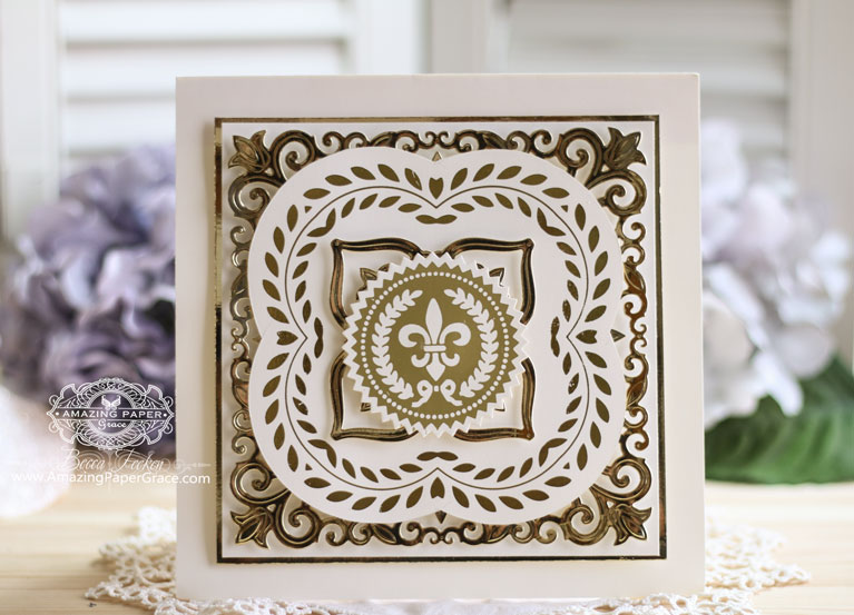 A No Sentiment Card by Becca Feeken with Amazing Paper Grace using Glorious Glimmer Elegant Square and Glorious Glimmer Elegant Gold Seals along with Spellbinders Botanical Bliss.  See supply list and links to products at www.amazingpapergrace.com/?p=34484