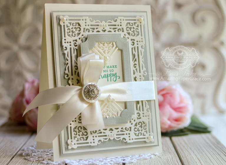 Amazing Paper Grace Die of the Month for May 2019 - Nostalgic Serenade Card Frame - Card Making Ideas by Becca Feeken using this Spellbinders Die can be found at www.amazingpapergrace.com/?p= 34928