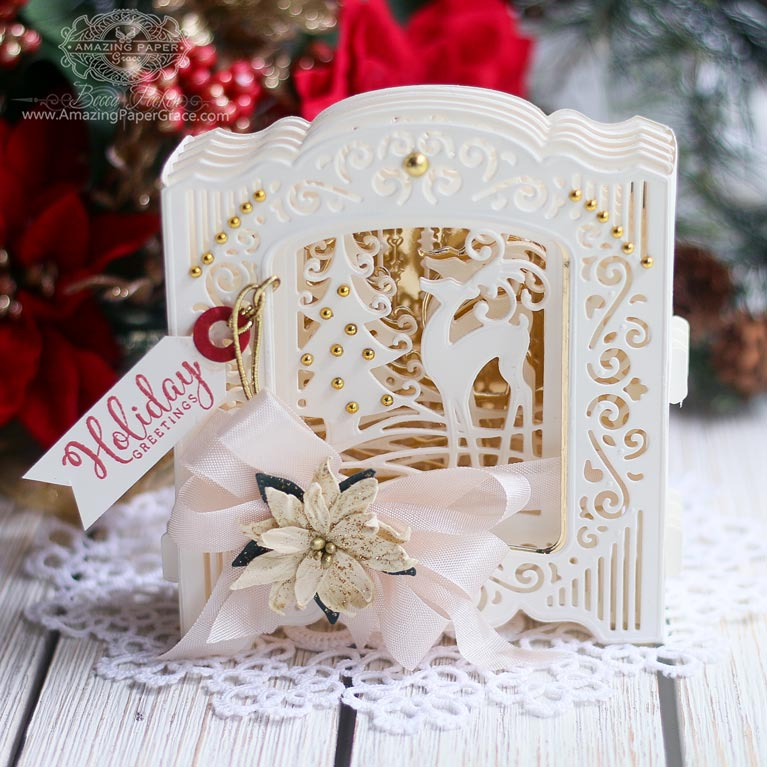 Amazing Paper Grace sneak peek of 3D Holiday Vignettes - Prancing Reindeer Layering Set and Grand Holiday Cabinet by Spellbinders - learn about this die at www.amazingpapergrace.com/?p=35245
