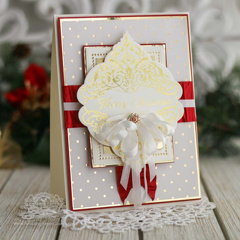 Amazing Paper Grace 3D Holiday Vignettes and Glimmer - Christmas Damask Jubilee by Spellbinders - learn about this die at www.amazingpapergrace.com/?p=35242