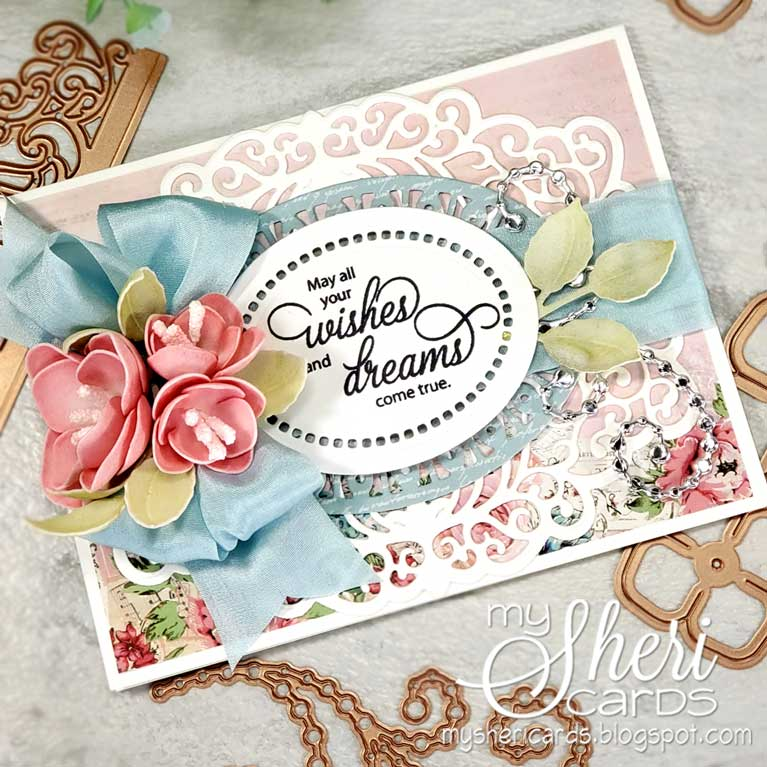 Amazing Paper Grace Guest Designer Sheri Holt shares a beautiful card using S4-1015 Cinch and Go Rosebuds made with Foamiran - see full post at www.amazingpapergrace.com/?p=35413