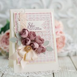 Card Making Ideas by Becca Feeken of Amazing Paper Grace using Candlewick Rosebuds and A2 Swirl Background by Spellbinders - see post for Card Recipe and walk through - www.amazingpapergrace.com/?p=35491