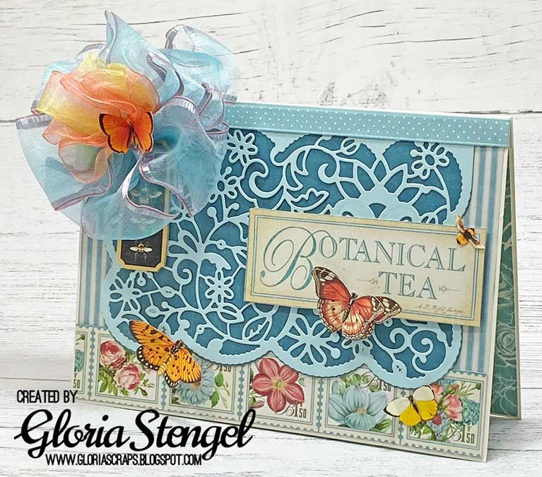 Amazing Paper Grace Guest Designer Gloria Stengel shares a beautiful card using S5-402 Candlewick Lace Cardfront - see full post at www.amazingpapergrace.com/?p=35694