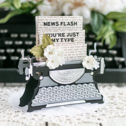 Amazing Paper Grace April 2020 Die of the Month - Pop-Up 3D Vignette Typewriter - learn about this die at www.amazingpapergrace.com/?p=36007