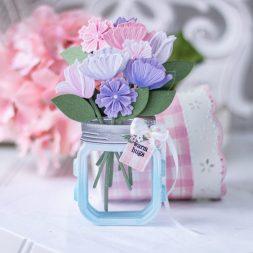 Amazing Paper Grace March 2021 Die of the Month - 3D Mini Vignette Floral Mason Jar - detailed information at www.amazingpapergrace.com/?p=36944
