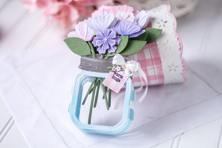 Amazing Paper Grace March 2021 Die of the Month | 3D Mini Vignette Floral Mason Jar