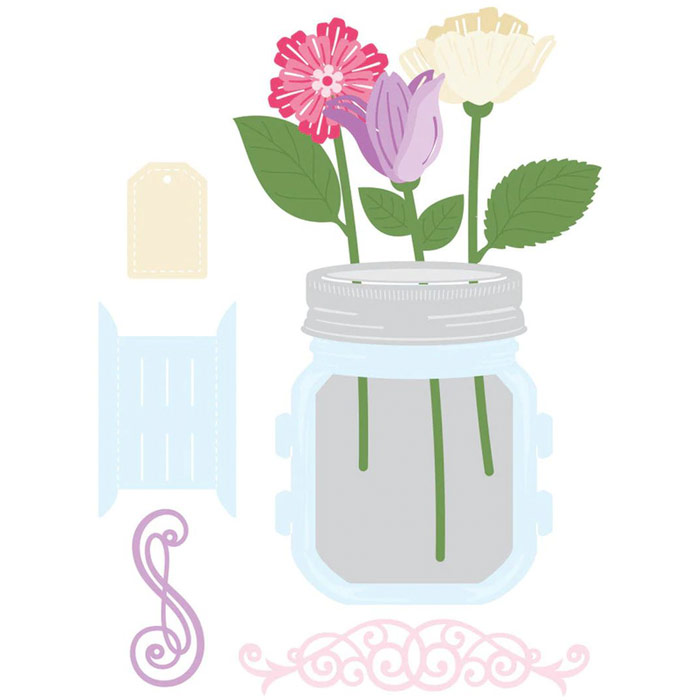 Amazing Paper Grace March 2021 Die of the Month - 3D Mini Vignette Floral Mason Jar - detailed information at www.amazingpapergrace.com/?p=36944